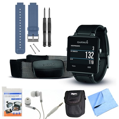 vivoactive GPS Smartwatch Black with Heart Rate Monitor Blue Band Bundle