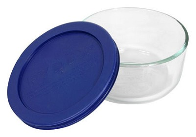 Storage 2-Cup Round Dish, Clear with Blue Lid