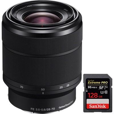 SEL2870 FE 28-70mm F3.5-5.6 OSS Full Frame E-Mount Lens + 128GB Memory Card