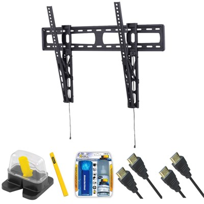 Extra Large Premium Slim TV Mount & Set Up Kit for 46`-90` TVs up to 130LB