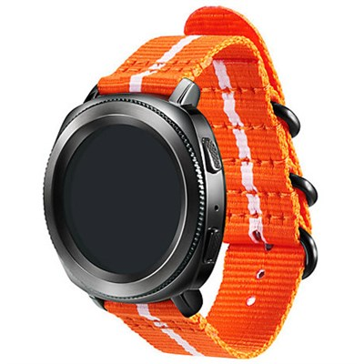 Premium Nato Strap for Gear Sport (20mm)- Orange w/ White - GPR600BREECAD