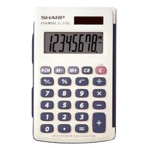 Electronics EL243SB 8-Digit Twin Power Hard Cover Handheld Calculator