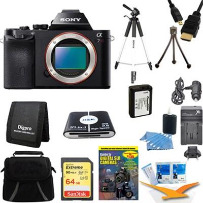 Alpha 7R a7R Digital Camera 64 GB SDHC Card Tripod and Battery Bundle