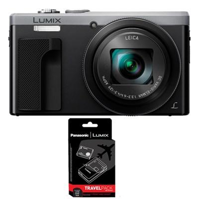ZS60 LUMIX 4K 18 MP Digital Camera with Wi-Fi - Silver w/ Power Bundle