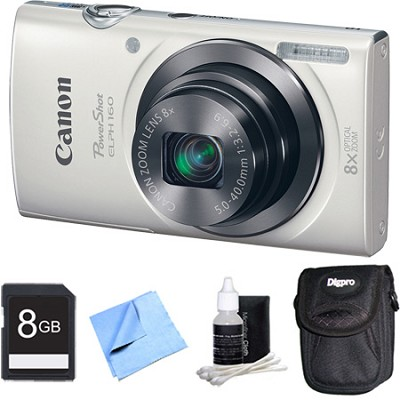 PowerShot ELPH 160 20MP 8x Opt Zoom HD Digital Camera - White 8GB Bundle