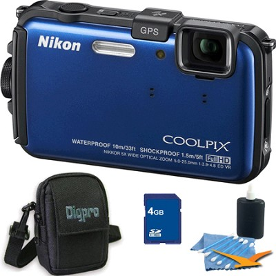 COOLPIX AW100 16MP Waterproof Shockproof Freezeproof Blue Camera 4GB Bundle