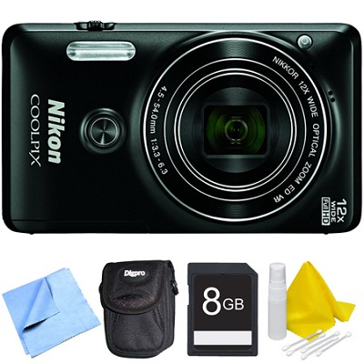 COOLPIX S6900 16MP Full HD 1080p Digital Camera - Black Bundle