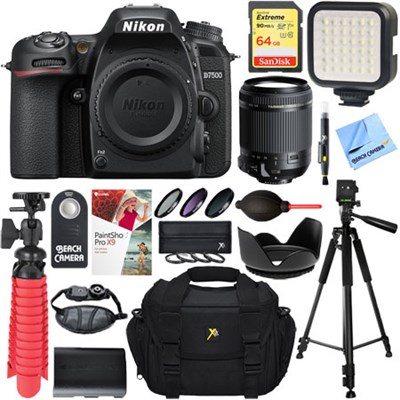 D7500 20.9MP Digital SLR Camera + Tamron 18-200mm Di II VC Lens Accessory Bundle