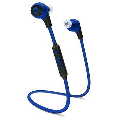 BKHC BK Sport Bluetooth Tangle-Free Earbuds with Built-In Mic, Blue