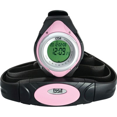 PHRM38PN Heart Rate Monitor Watch with 3D Walking/Running - Pink