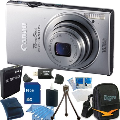 PowerShot ELPH 320 HS 16MP Silver Digital Camera 16GB Bundle