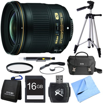 AF-S NIKKOR 24mm f/1.8G ED Wide Angle Lens for Nikon DSLR Cameras Bundle