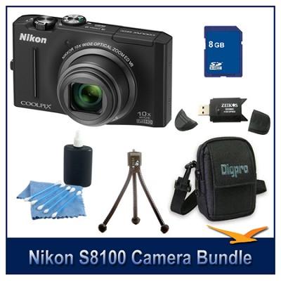 COOLPIX S8100 Black Digital Camera 8GB Bundle w/ Reader, Case, Tripod & More
