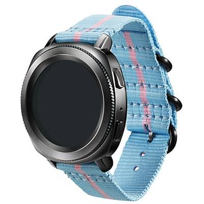 Premium Nato Strap for Gear Sport (20mm)- Light Blue w/ Pink - GPR600BREECAF