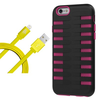 Cobra Apple iPhone 6 Silicone Dual Protective Case - Black/Pink Starter Bundle