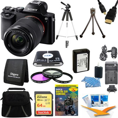 Alpha 7K a7K Digital Camera 64GB SDXC Card Tripod and Battery Bundle