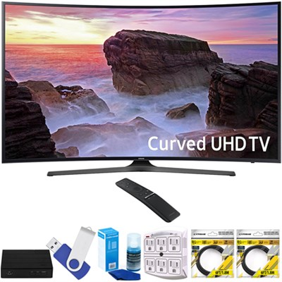 Curved 65` 4K Ultra HD Smart LED TV 2017 Model with Terk Tuner Bundle