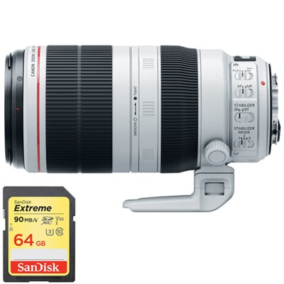 EF 100-400mm f/4.5-5.6L IS II USM Lens with Lexar 64GB SDXC Memory Card