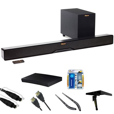 Reference 2-Way Soundbar w/ Wireless 6.5` Subwoofer R4B w/ Blu-ray Player Bundle