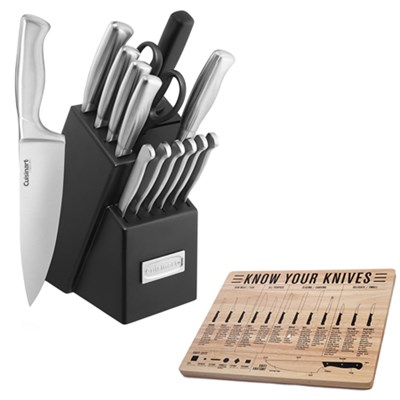 15pc Stainless Steel Hollow Handle Cutlery Block Set w/ Sthetix Chopping Board