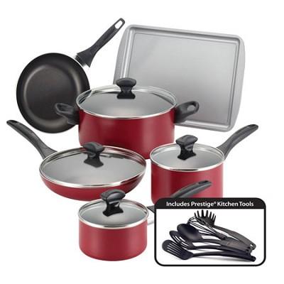 21807 Dishwasher Safe Nonstick 15-Piece Cookware Set, Red