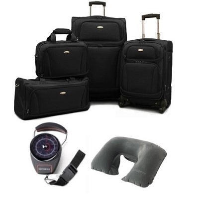 6 Piece Set 28.5` & 20.5` Spinners, Boarding bag, Duffel Scale & Pillow - Black