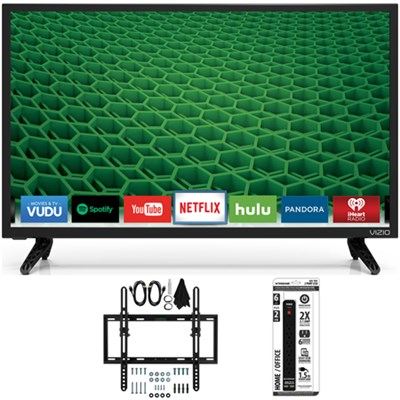 D24-D1 D-Series 24` Class Edge-Lit LED Smart TV Flat + Tilt Wall Mount Bundle