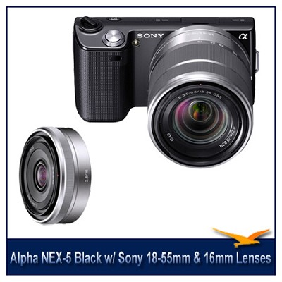 Alpha NEX-5 Interchangeable Lens Black Camera w/ 18-55mm & 16mm f/2.8 Lenses
