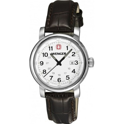 Ladies' Urban Classic Watch - Silver Sunray Textured Dial/Brown Leather Strap