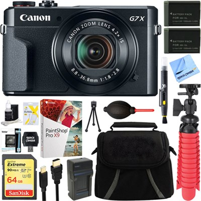 PowerShot G7 X Mark II 20.1MP Digital Camera + Spare Battery & Accessory Bundle