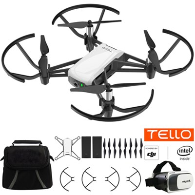 Tello Quadcopter Drone Fun Flight Bundle With Case Spare Battery & VR Headset