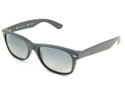 Wayfarer 55MM Polarized Sunglasses - Matte Black/Blue Gradient