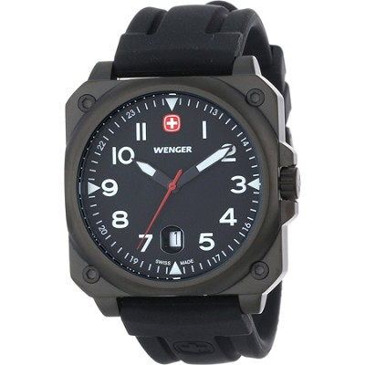 Men's AeroGraph Cockpit Watch - PVD Black Case/Black Dial/Black Leather Strap