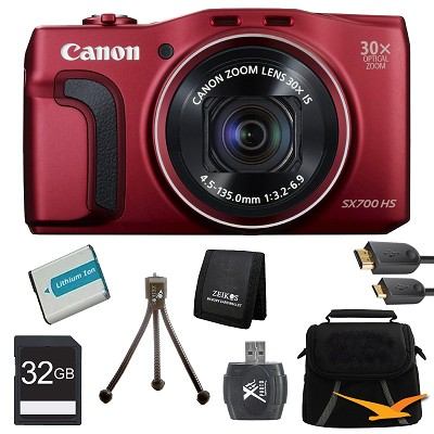PowerShot SX700 HS 16.1MP HD 1080p Digital Camera Red Ultimate Kit