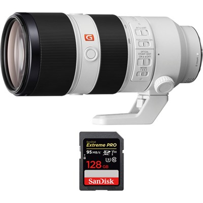 FE 70-200mm F2.8GM OSS E-Mount Lens with SDXC 128GB UHS-1 Memory Card