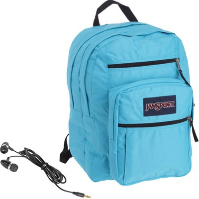 Big Student Backpack in Mammoth Blue with Bonus White Earbuds