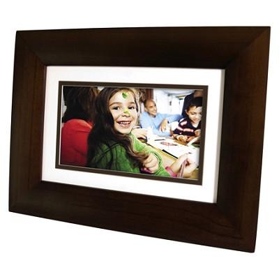 DF730P1 7` LCD Digital Photo Frame - Dark Espresso Wood - OPEN BOX
