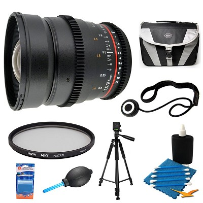 24mm T1.5 Aspherical Wide Angle Cine Lens and Filter Bundle for Sony E-Mount