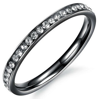 Stainless Steel and Cubic Zirconia Ring