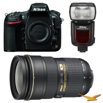 D810 36.3MP 1080p HD DSLR Camera Body w/ 24-70mm f/2.8G ED Lens Bundle