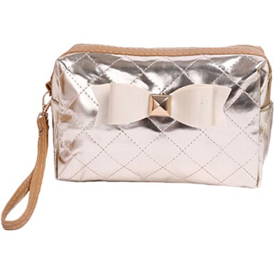 Bow Diva Designer-inspired Quilted Metallic Case - Silver