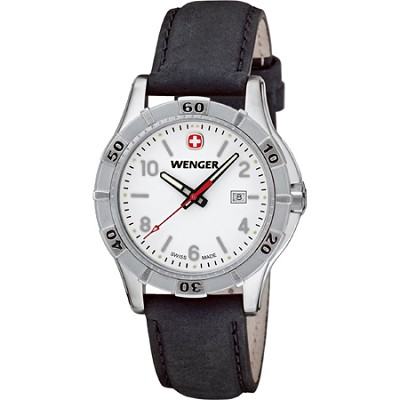 Ladies' Platoon Analog Watch - White Dial/Black Leather Strap