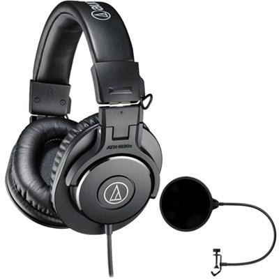 ATH-M30x Professional Headphones w/ Pop Filter Microphone