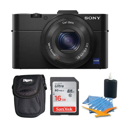 Cybershot DSC-RX100M II Cyber-shot 20.2MP Digital Camera + 16GB SDHC Kit (Black)