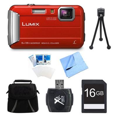 LUMIX DMC-TS30 Active Tough Red Digital Camera 16GB Bundle