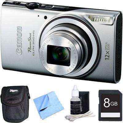 Powershot ELPH 350 HS Silver Digital Camera and 8GB Card Bundle