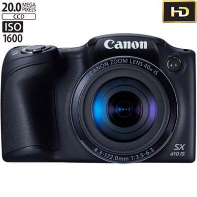 Powershot SX410 IS 20MP 40x Optical Zoom 720p HD Black Digital Camera