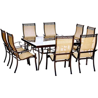 Monaco 9PC Dining Set: 6 Sling Chairs and 60  Square Glass Tbl