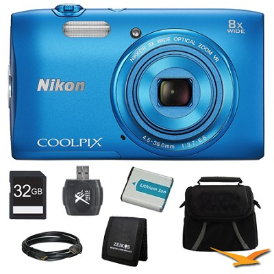 COOLPIX S3600 20.1MP 2.7` LCD 720p HD Video Digital Camera Blue Ultimate Kit