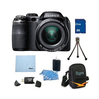 FinePix S4800 30x Optical Zoom 14 MP 3 inch LCD Digital Camera 8 GB Bundle